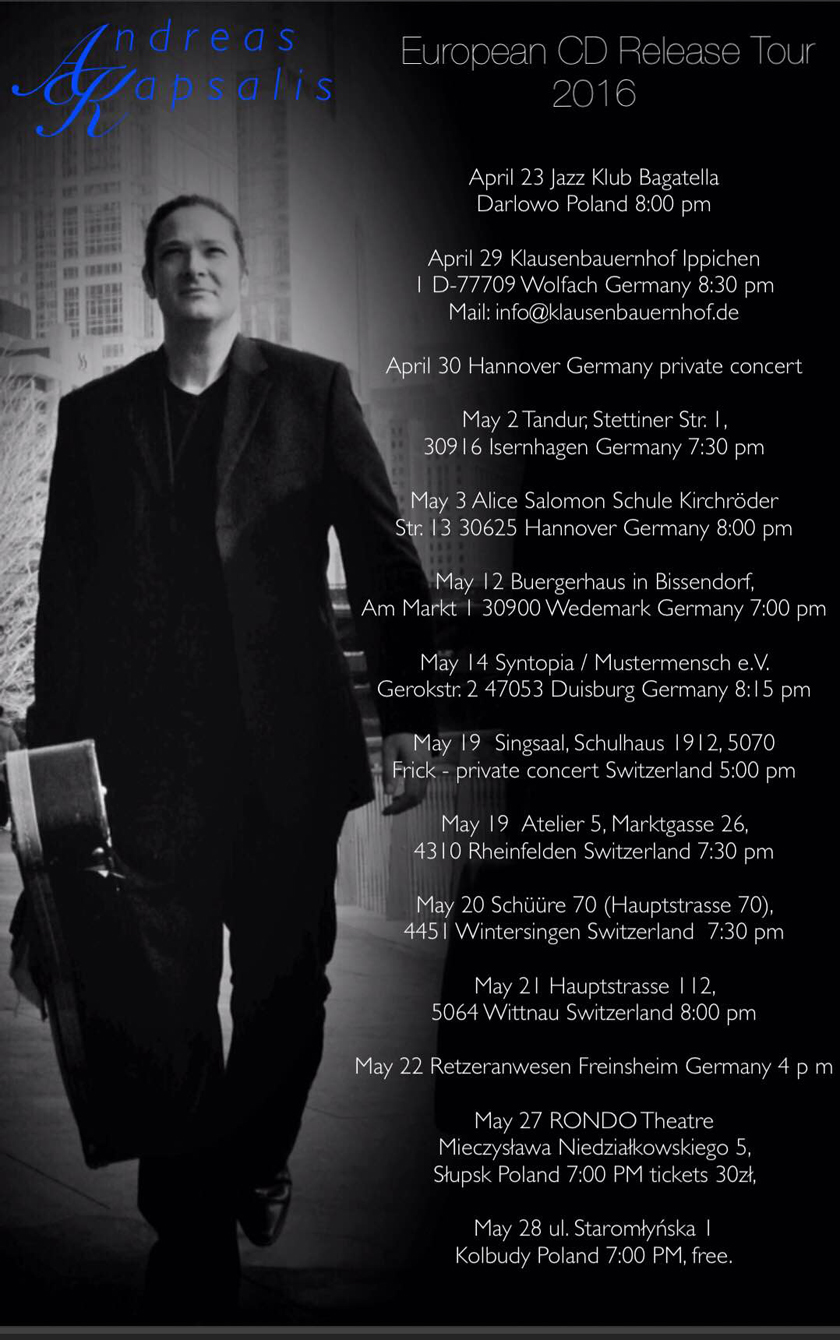 Spring 2016 European CD Release Tour