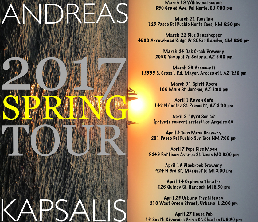 Andreas Kapsalis - Spring Tour - March-April 2017